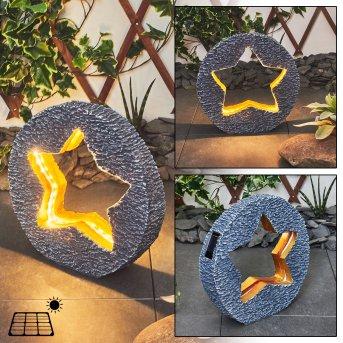 Siviri Lámpara solar LED Gris, Bronce, 48 luces