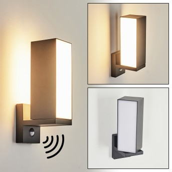 Swanek Aplique para exterior LED Antracita, 1 luz, Sensor de movimiento