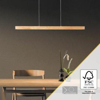 Brilliant Ainara Lámpara Colgante LED Negro, Madera clara, 1 luz