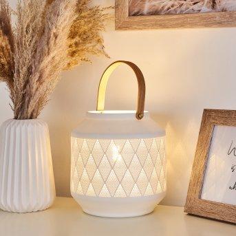 Forrnes Lámpara de mesa Blanca, Beige, 1 luz