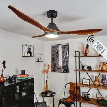 Follseland Ventilador de techo LED Negro, marrón oscuro, Color madera, 1 luz, Mando a distancia