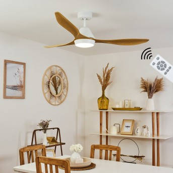 Follseland Ventilador de techo LED Blanca, Marrón claro, Color madera, 1 luz, Mando a distancia