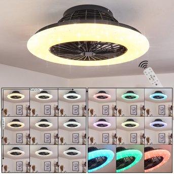 Pireaus Ventilador de techo LED Negro, 1 luz, Mando a distancia, Cambia de color