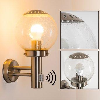 Globo BOWLE II Lámpara para exterior Acero inoxidable, Transparente, claro, 1 luz, Sensor de movimiento