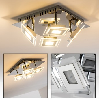 Cerreto Lámpara de techo LED Cromo, 4 luces
