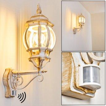 Lentua Aplique para exterior Blanca, dorado, 1 luz, Sensor de movimiento