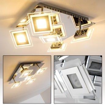 Cerreto Lámpara de techo LED Cromo, 5 luces