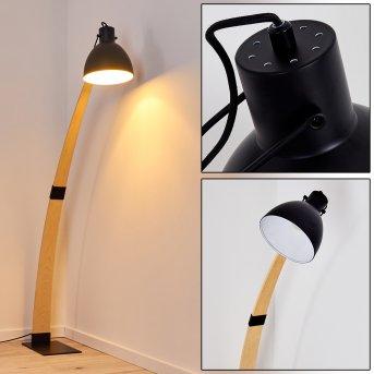 Higashi Lámpara de Pie Negro, Madera clara, 1 luz