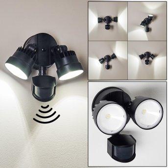 Emmerlev Aplique para exterior LED Negro, 2 luces, Sensor de movimiento