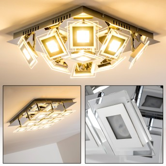 Cerreto Lámpara de techo LED Cromo, 9 luces