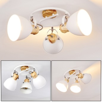 Banjul Lámpara de Techo Blanca, Madera clara, 3 luces