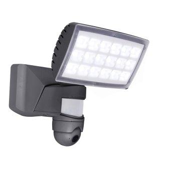 Aplique para exterior Lutec PERI CAM LED Antracita, 1 luz, Sensor de movimiento
