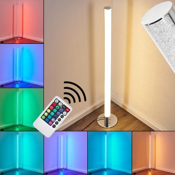 Flaut Lámpara de Pie LED Cromo, 1 luz, Mando a distancia, Cambia de color