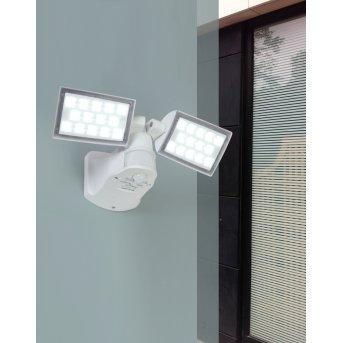 Lutec PERI Foco de pared para exterior LED Blanca, 2 luces, Sensor de movimiento