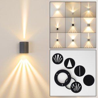 Mora Aplique para exterior LED Gris, 2 luces