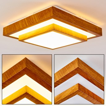 Sora Wood Lámpara de Techo LED Blanca, Madera clara, 1 luz
