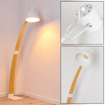Higashi Lámpara de Pie Blanca, Madera clara, 1 luz