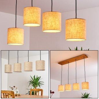 Shiburg Lámpara Colgante Madera clara, 4 luces