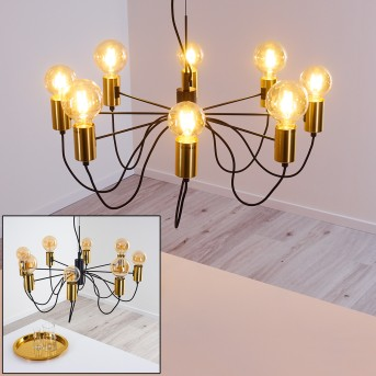 Gnarp Lámpara Colgante Negro-dorado, 8 luces