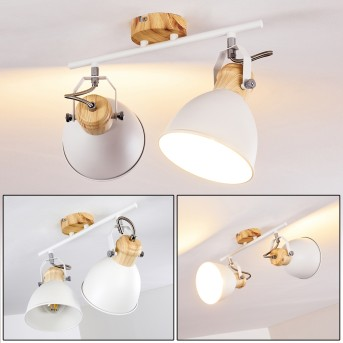 Banjul Lámpara de Techo Blanca, Madera clara, 2 luces