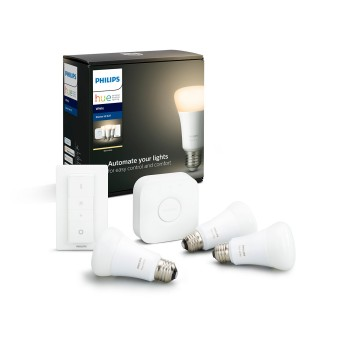 Philips Hue LED White E27 Starter-Set de 3, 2700 Kelvin