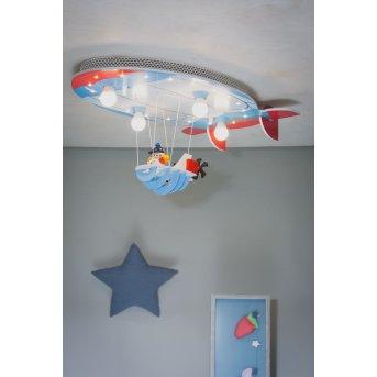 Elobra LUFTSCHIFF Lámpara de Techo Azul, Rojo, 4 luces