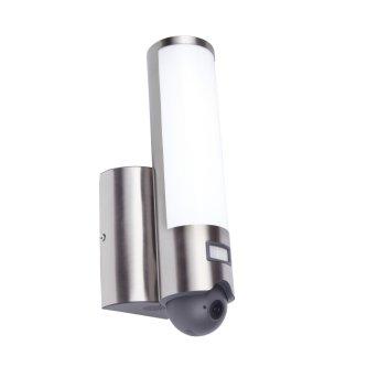 Aplique para exterior Lutec ELARA CAM LED Acero inoxidable, 1 luz, Sensor de movimiento