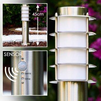 Tunes Poste de jardin Acero inoxidable, 1 luz, Sensor de movimiento
