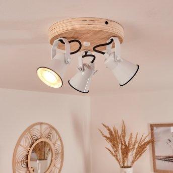 Skodsbol Lámpara de Techo Blanca, Madera clara, 3 luces