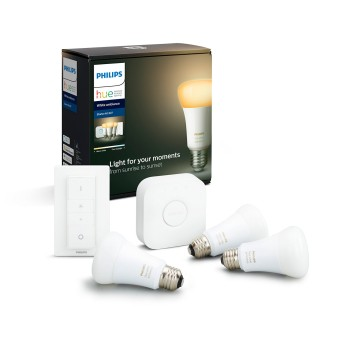 Philips Hue LED Ambiance White E27 Starter-Set de 3 9,5 Watt, 806 Lumen