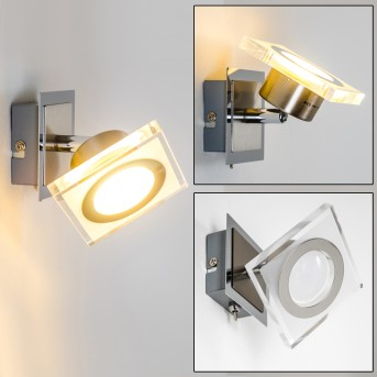 Kolari Foco de pared LED Níquel-mate, Cromo, 1 luz