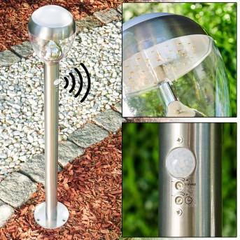 Sorken Poste de Jardín LED Acero inoxidable, 1 luz, Sensor de movimiento