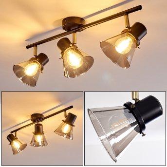 Abel Lámpara de Techo Negro-dorado, 3 luces