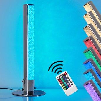 Flaut Lámpara de Mesa LED Cromo, 1 luz, Mando a distancia, Cambia de color