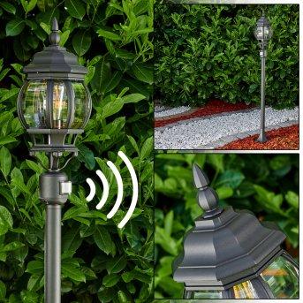 Lentua Lámpara de pie para exterior Negro, 1 luz, Sensor de movimiento