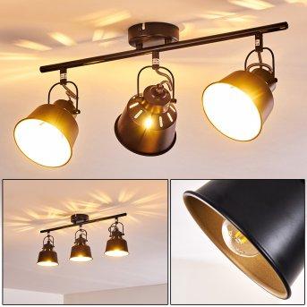 Safari Lámpara de Techo Negro-dorado, 3 luces