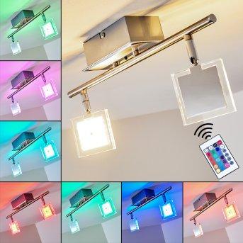Oxford Lámpara de techo LED Cromo, 2 luces, Mando a distancia, Cambia de color