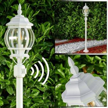 Lentua Lámpara de pie para exterior Blanca, 1 luz, Sensor de movimiento