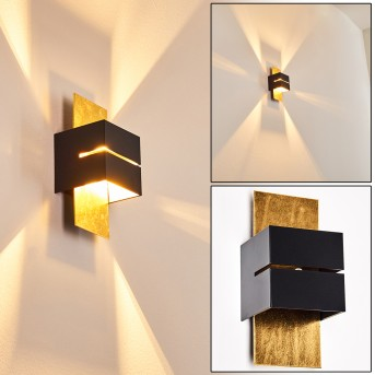 Tora Aplique Negro-dorado, 1 luz