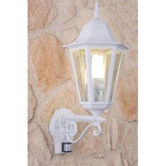 Lutec BRISTOL Aplique para exterior Blanca, Transparente, claro, 1 luz, Sensor de movimiento