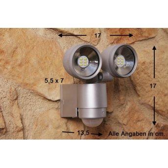 Globo RADIATOR II Proyector Plata, 2 luces, Sensor de movimiento