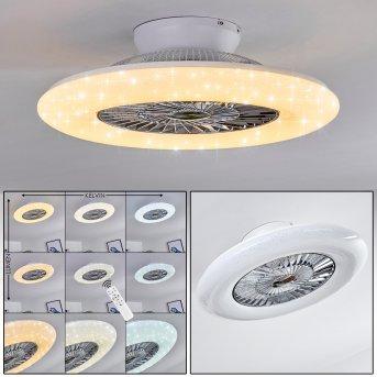 Petrovac Ventilador de techo LED Cromo, Blanca, 1 luz, Mando a distancia