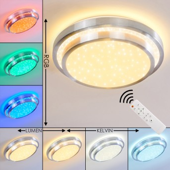 Mirabeau Lámpara de Techo LED Aluminio, 2 luces, Mando a distancia, Cambia de color