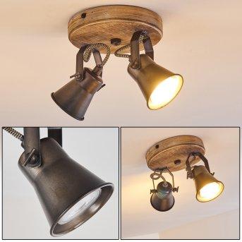 Skodsbol Lámpara de Techo Antracita, Madera clara, 2 luces