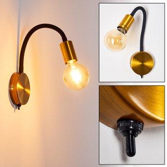 Aplique Hovslund Negro, dorado, 1 luz