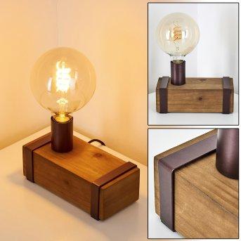 Balakovo Lámpara de mesa Color óxido, Madera oscura, 1 luz