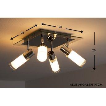 Wofi MARCO Lámpara de techo Cromo, Blanca, 4 luces