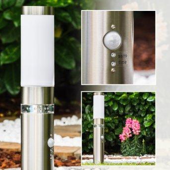 Avize Poste de jardin Acero inoxidable, 1 luz, Sensor de movimiento