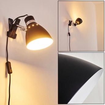 Stranderott Lámpara con pinza Cromo, Negro, 1 luz