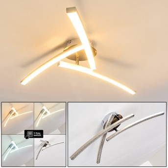 Tusula Lámpara de Techo LED Acero inoxidable, 3 luces
